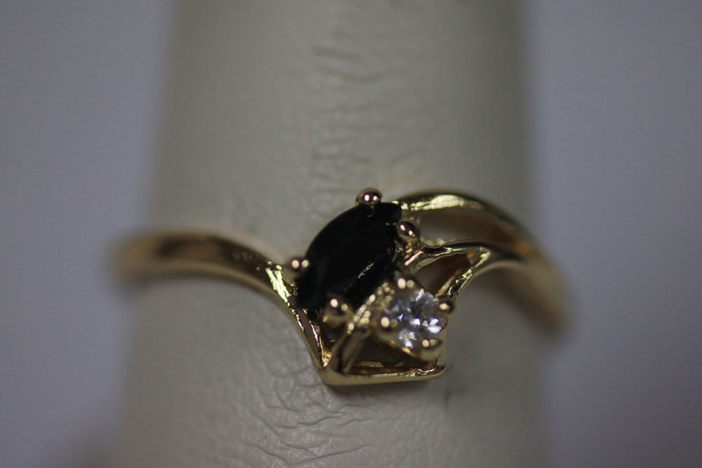 14K GOLD PLATED CZ BLACK RING