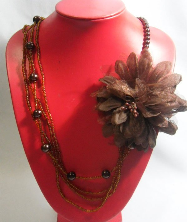 3-1 MAURICA BEADED BROWN FLOWER NECKLACE 3LAYERS 20INCH