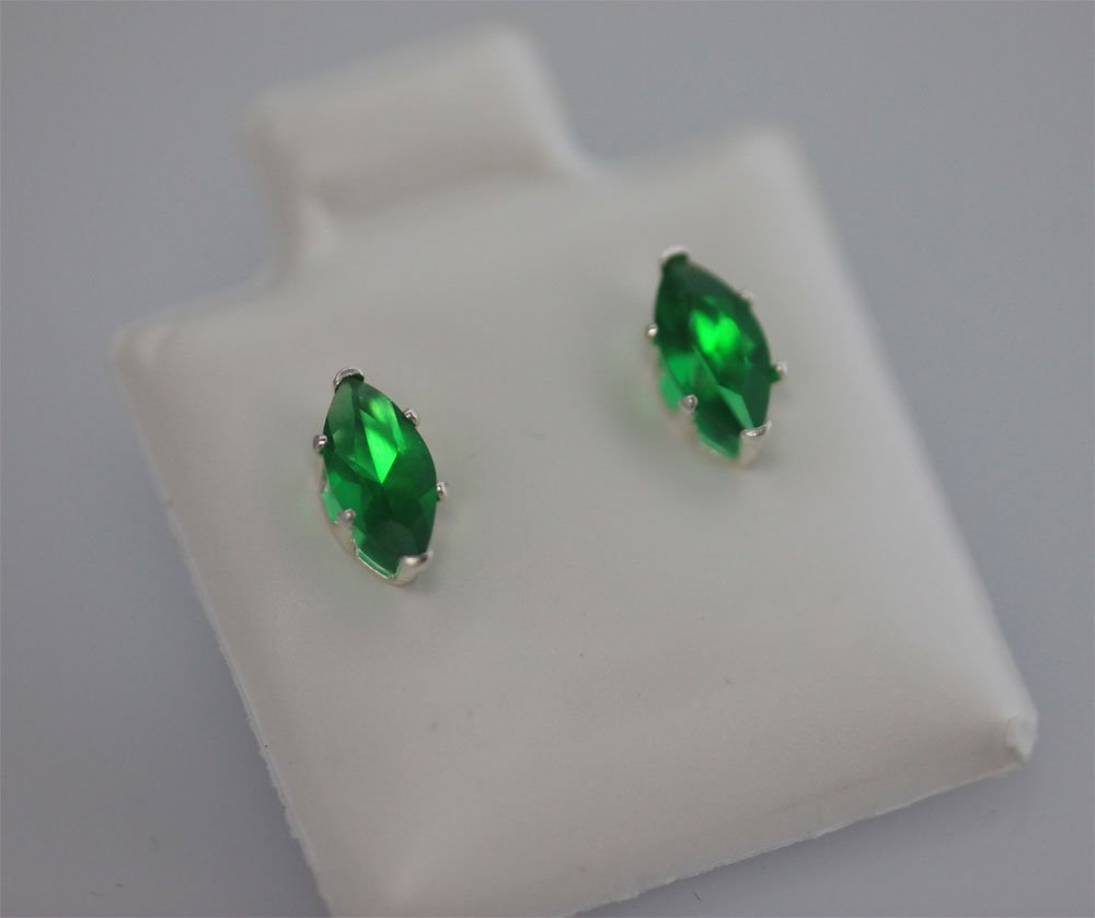 MARQUISE EMERALD CZ STUD EARRINGS .925 STERLING SILVER