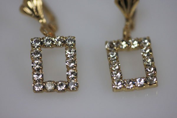 14K GOLD PLATED AND CZ SQUARE CUT EARRINGS