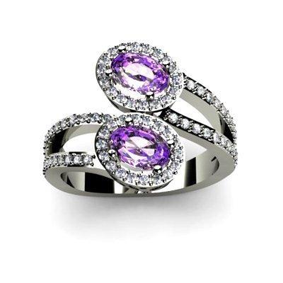 Amethyst 1.23 ctw & Diamond Ring 18kt W/Y Gold
