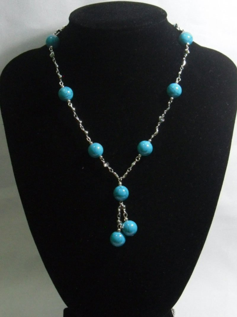 195CTW BLUE TURQUOISE SILVER NECKLACE;METAL-SILVER