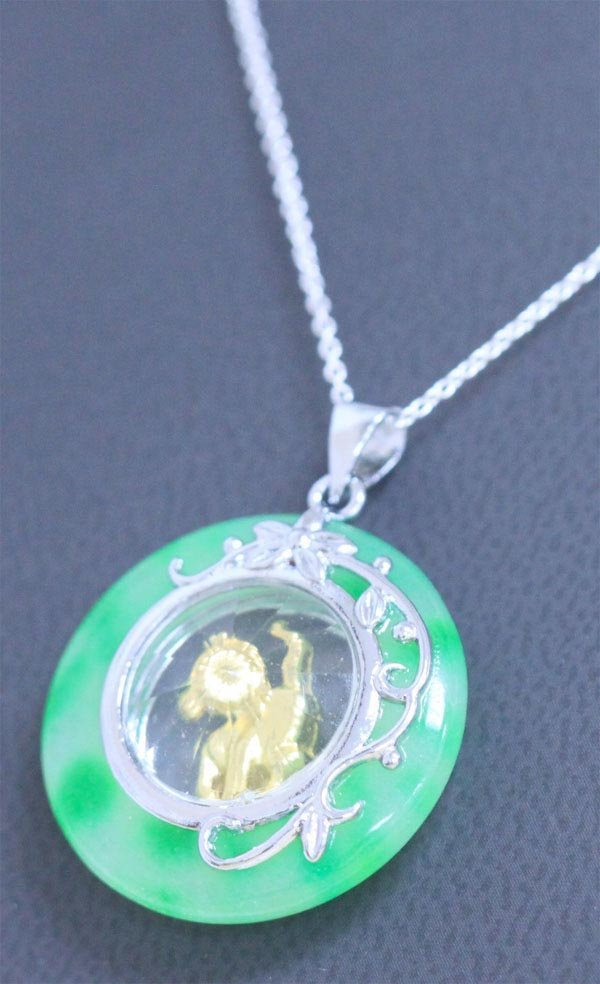 GREEN JADE PENDANT YEAR OF THE HORSE NECKLACE