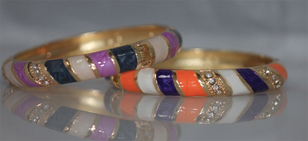 FANCY FASHION JEWELRY MULTICOLOR AND CZ BANGLE SET OF2
