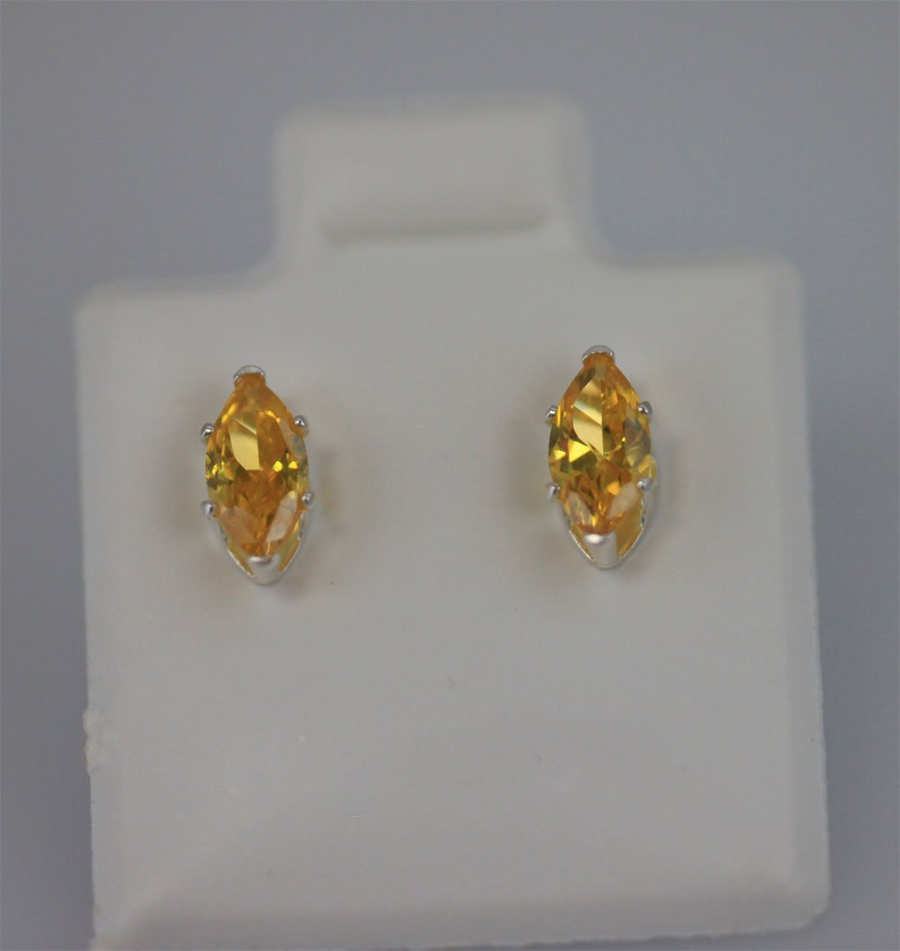 MARQUISE CITRINE CZ STUD EARRINGS .925 STERLING SILVER