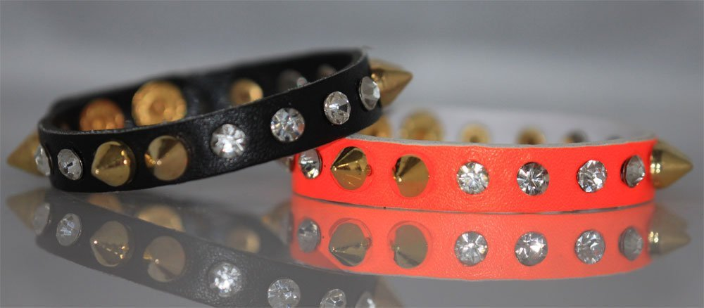 FANCY FASHION JEWELRY SYNTETIC LEATHER BLACK AND HOT OR