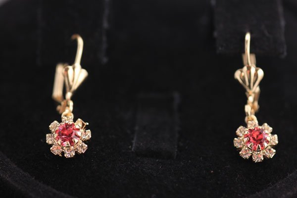14K GOLD PLATED WHITE AND PINK CZ EARRINGS