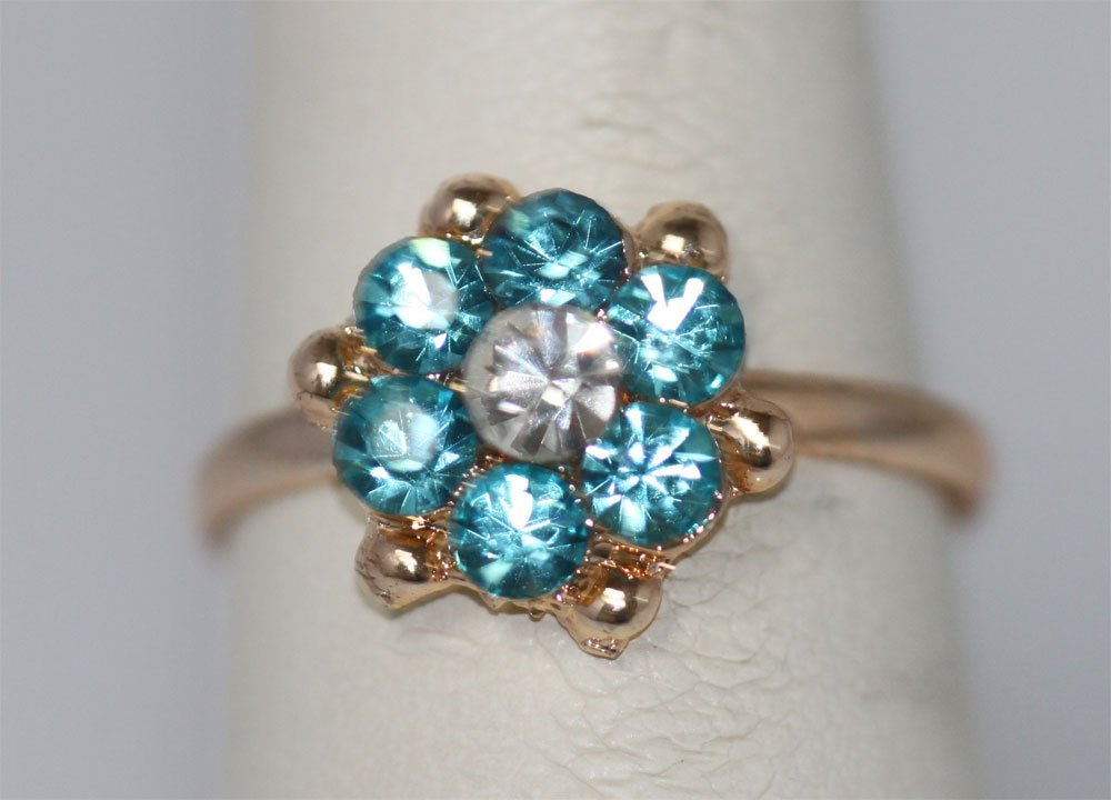 AQUA FLOWER AND CLEAR RHINESTONE GOLD PLATED BRASS RING