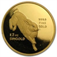 Singapore 12 oz. Gold Proof (Year of the Rabbit) (date