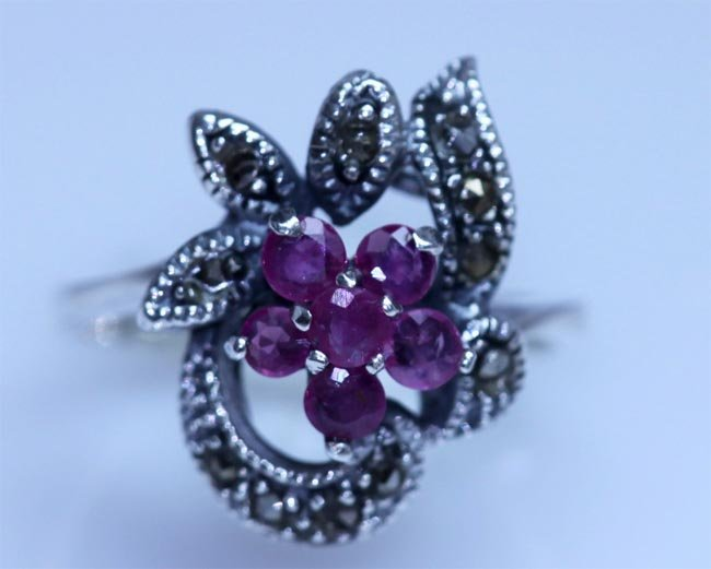 20.40 CTW RUBY ANTIQUE LOOKING JEWELRY .925 STERLING SI