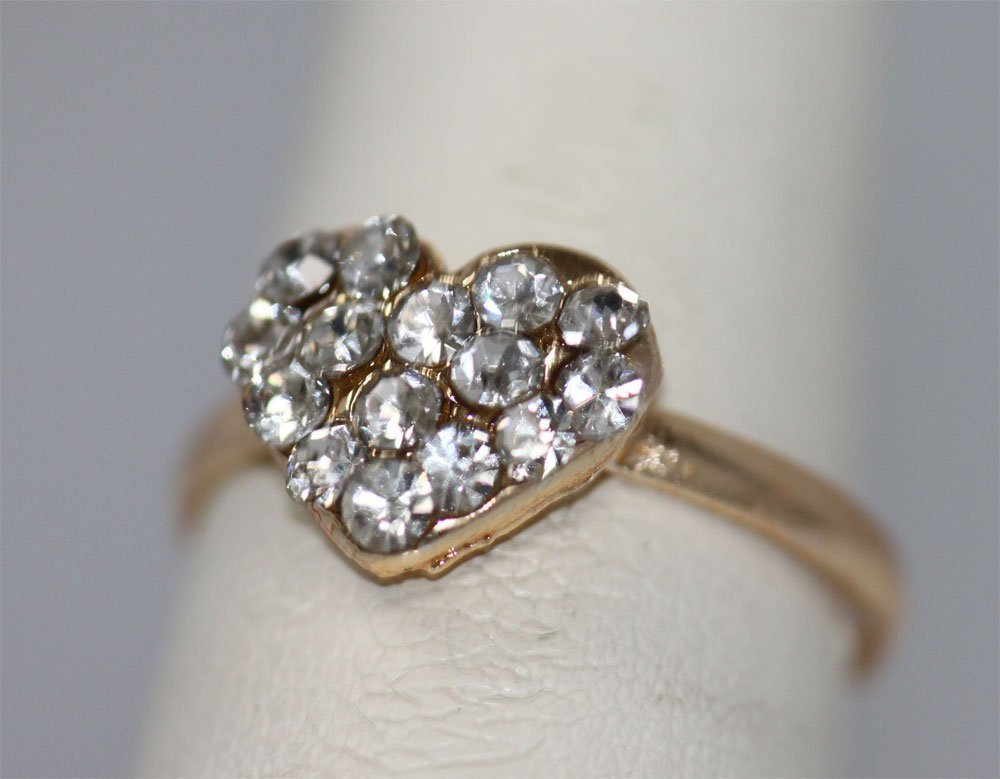 CLEAR HEART RHINESTONE GOLD PLATED BRASS RING