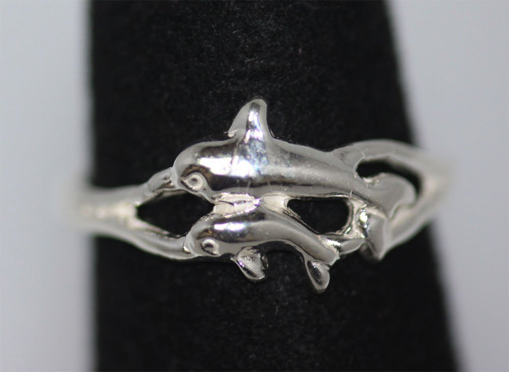 TWO DOPHINS .925 STERLING SILVER TOE RING