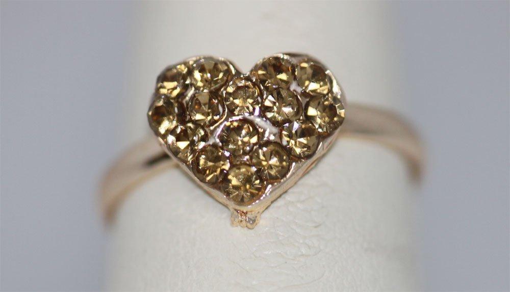 GOLD HEART RHINESTONE GOLD PLATED BRASS RING