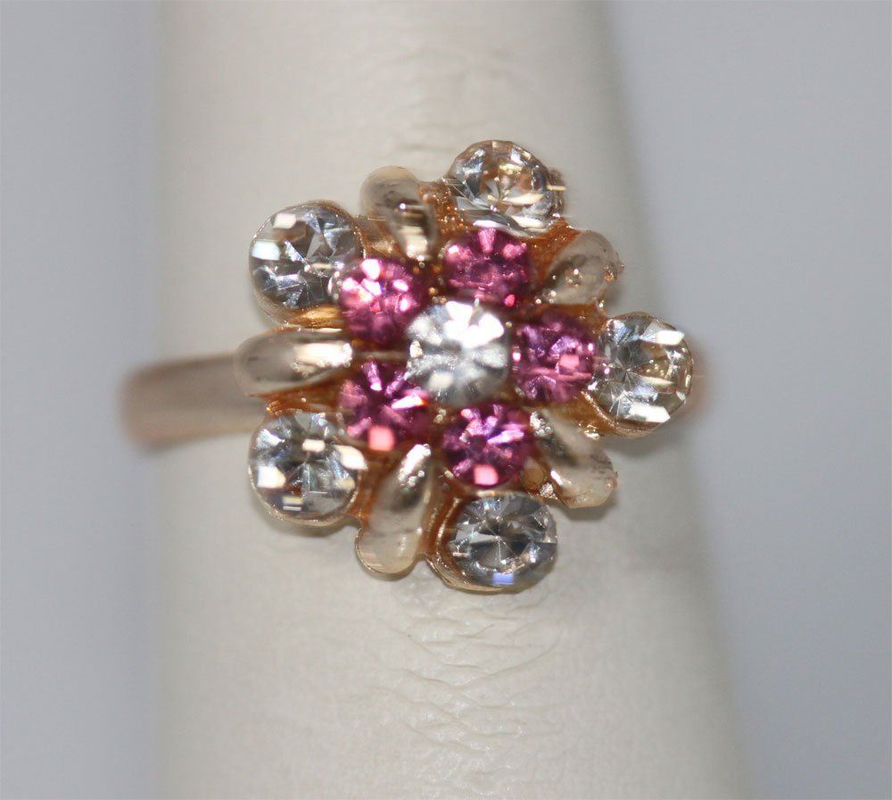 PINK AND CLEAR FLOWER RHINESTONE GOLD PLATED BRASS RING