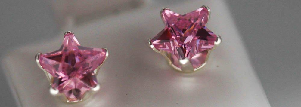 PINK CZ STAR STUD EARRINGS .925 STERLING SILVER