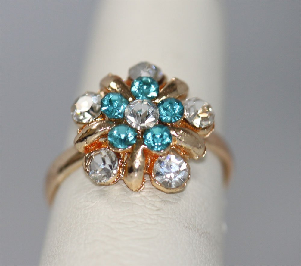 AQUA AND CLEAR FLOWER RHINESTONE GOLD PLATED BRASS RING