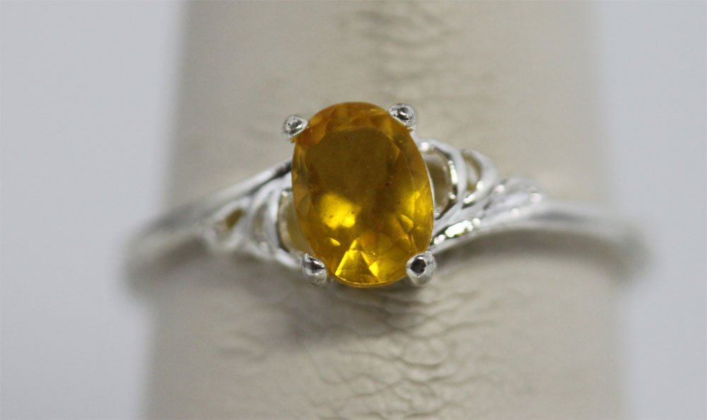 YELLOW CZ .925 STERLING SILVER RING