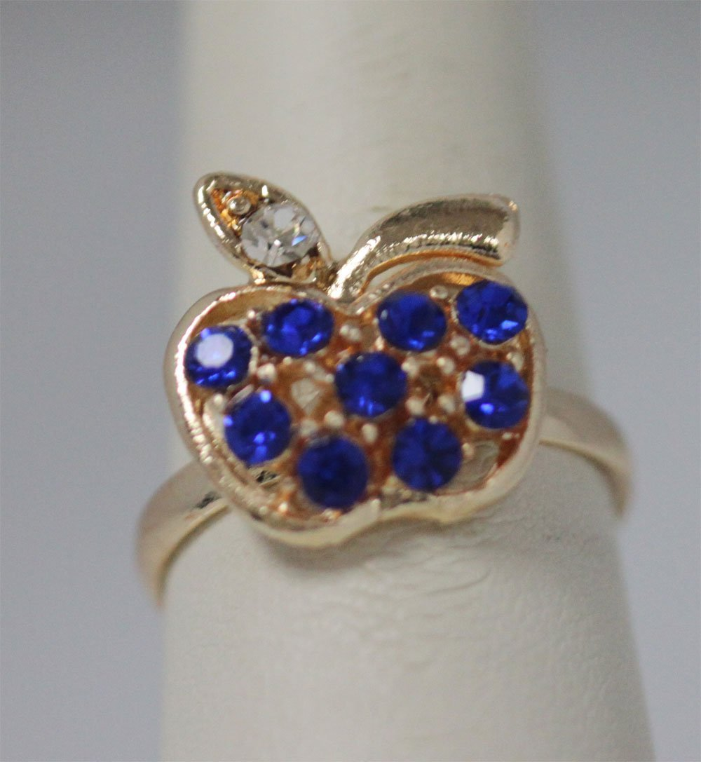 DARK BLUE APPLE RHINESTONE GOLD PLATED BRASS RING
