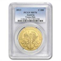 1 oz Gold Austrian Philharmonic PCGS MS-70 (date of our