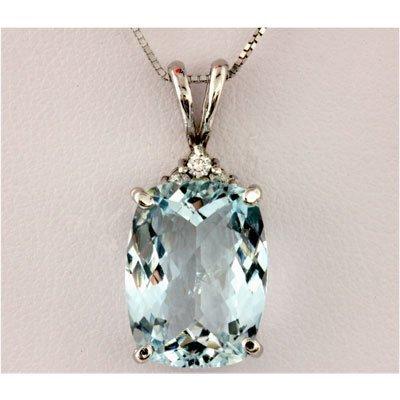 Genuine 5.94 ctw Aqua Marine & Diamond Necklace 14k