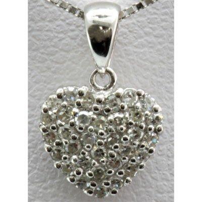 Genuine 0.19 ctw Diamond Puff Heart Pendant 14k W Gold