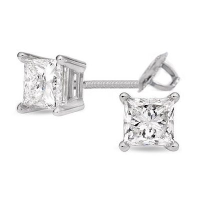 3.00 ctw Princess cut Diamond Stud Earrings I-K, SI-I