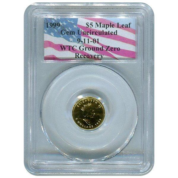 Certified Canada $5 Gold Maple Leaf Gem Unc PCGS WTC Gr