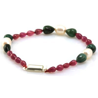 Natural Ruby, Emerald Bracelet and Pearl 59.91 ctw
