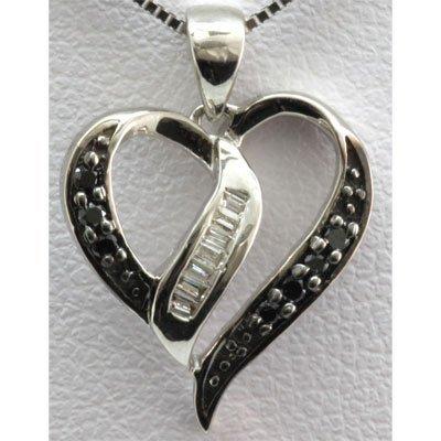 Genuine 0.10 ctw Diamond Heart Pendant 10k W Gold