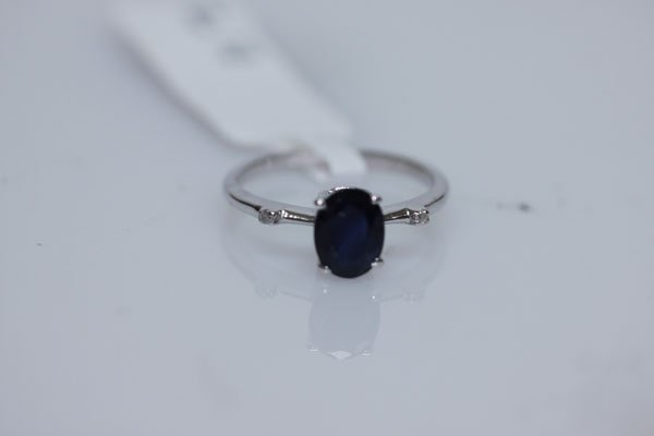9.32 CTW SAPPHIRE AND DIAMOND RING .925 STERLING SILVER