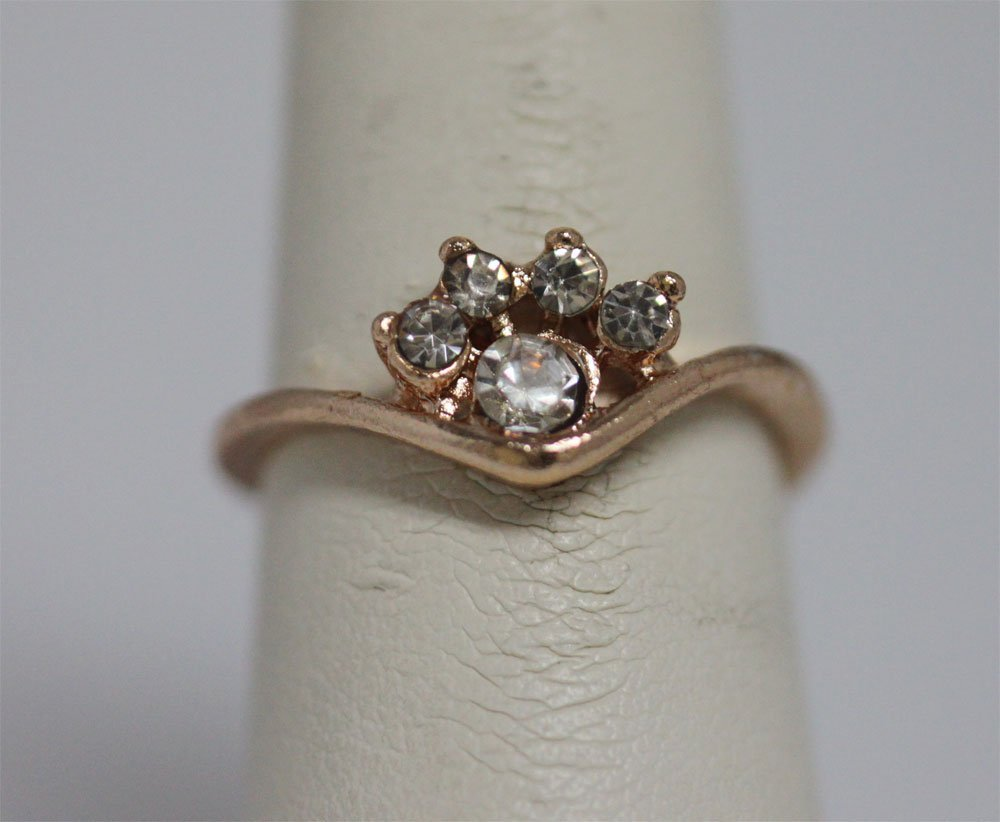 CZ GOLD PLATED BRASS RING