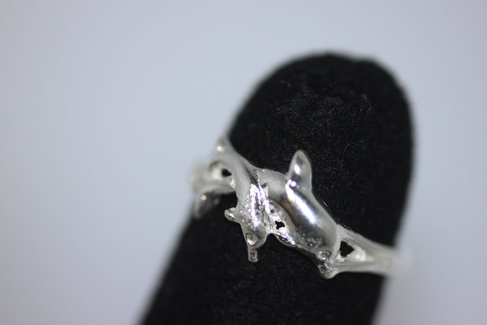 TWIN DOLPHIN TOE RING .925 STERLING SILVER