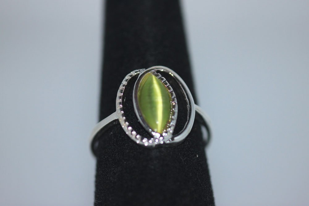 MARQUISE CZ PERIDOT RING .925 STERLING SILVER