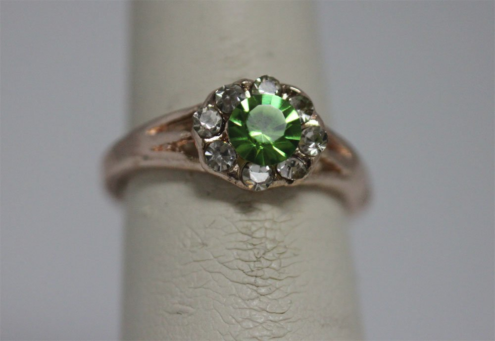 GREEN AND CLEAR CZ GOLD PLATED BRASS RING