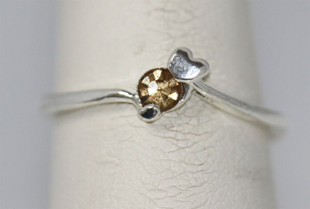 SILVER PLATED GOLD RHINESTONE RING
