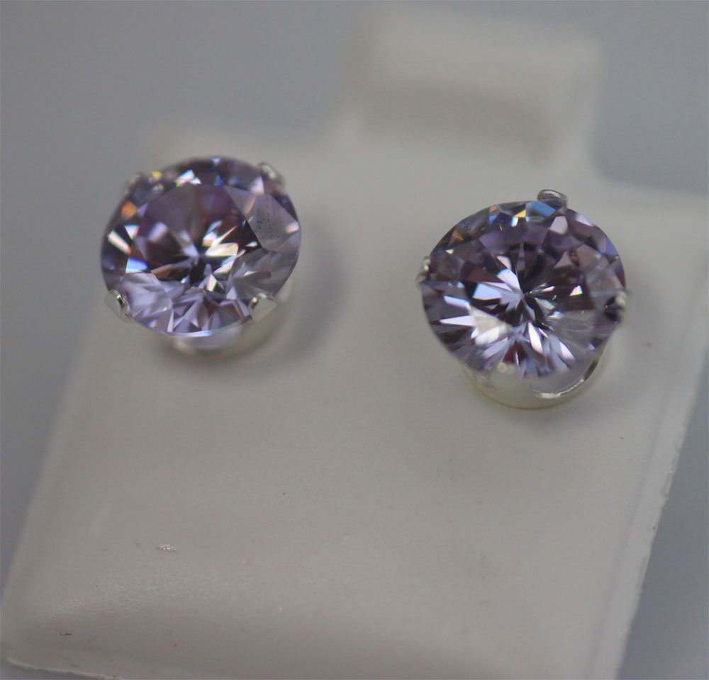 ROUND LAVENDER CZ STUD EARRINGS .925 STERLING SILVER
