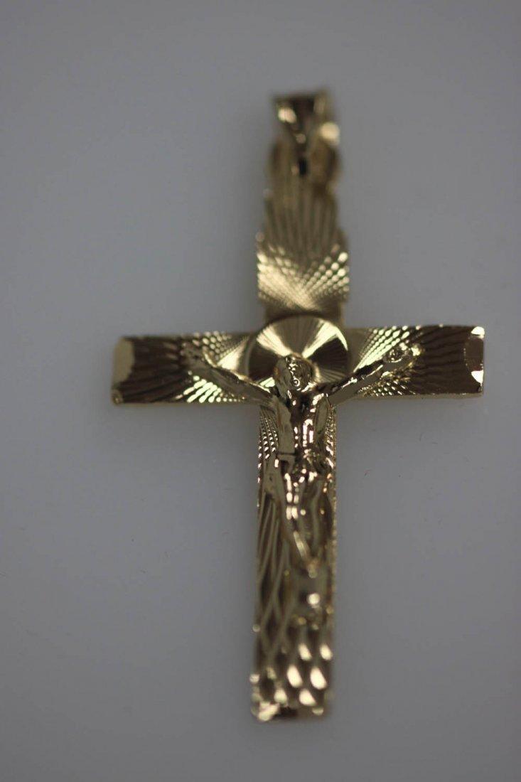 14K GOLD PLATED JESUS CROSS PENDANT