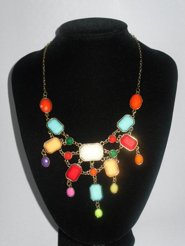 152CTW MULTICOLOR OCTAGON-OVAL BRASS NECKLACE;18INCH