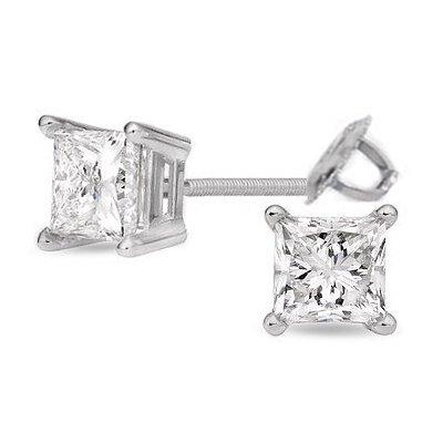 2.00 ctw Princess cut Diamond Stud Earrings I-K, SI-2