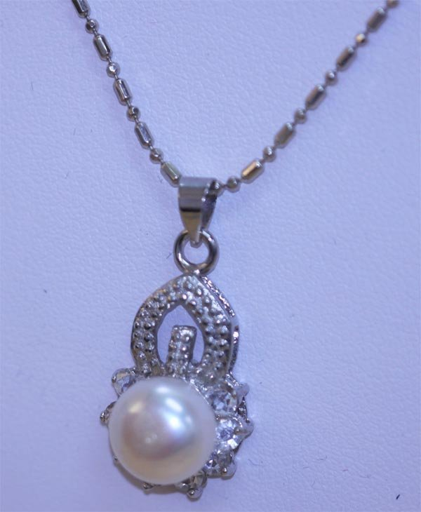 WHITE PEARL AND CZ NECKLACE
