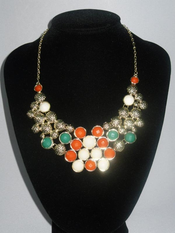 202CTW MULTICOLOR STRAWBERRIES BRASS NECKLACE;18INCH