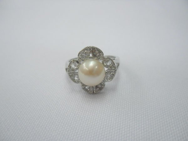 PEACH PEARL WITH 8 CZ SILVER RING; METAL: SILVER; PHILI