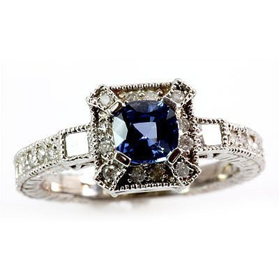 Genuine Ceylon Sapphire 1.31 ctw Diamond Ring10k
