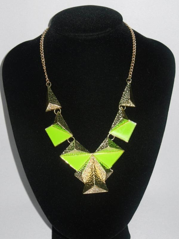 290CTW 5-SLABS GREEN BRASS NECKLACE;18INCH