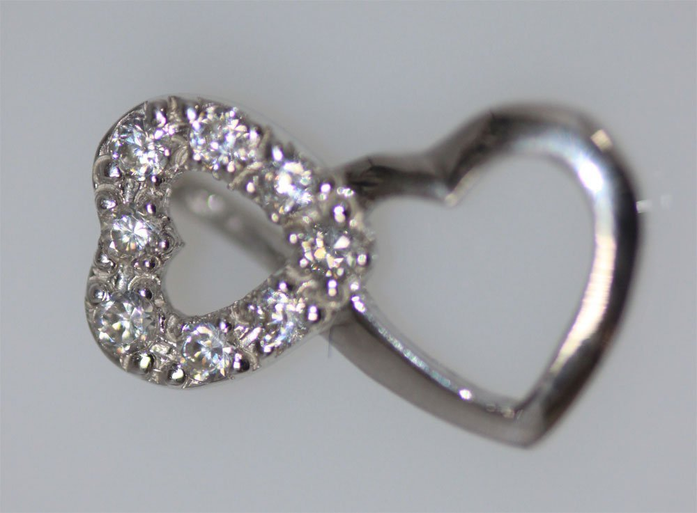 CZ HEART SHAPED .925 STERLING SILVER PENDANT