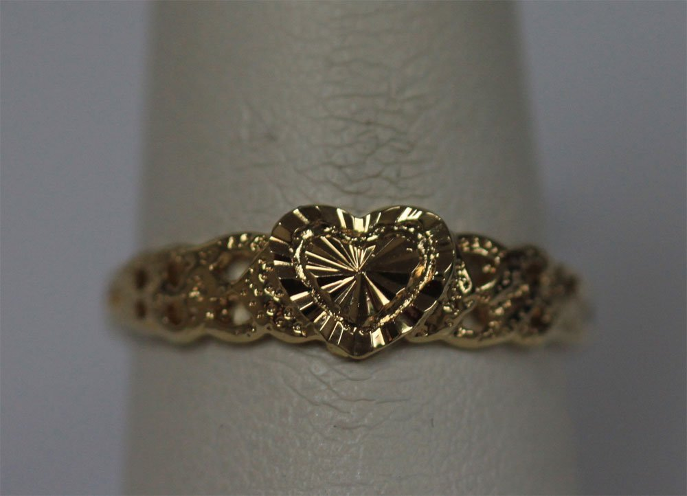 14K GOLD PLATED HEART RING