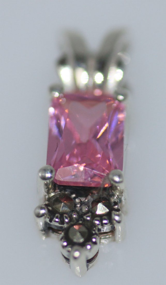 RECTANGLE MARCASITE PINK CZ PENDANT .925 STERLING SILV