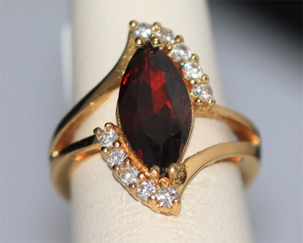 RED CZ AND CZ 14K GOLD PLATED RING