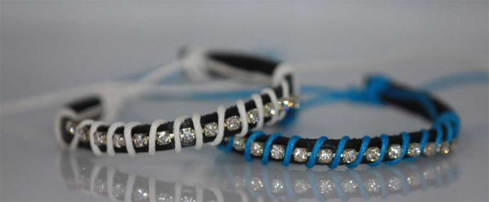 FANCY FASHION JEWELRY SYNTETIC LEATHER WITH CZ BLUE AND