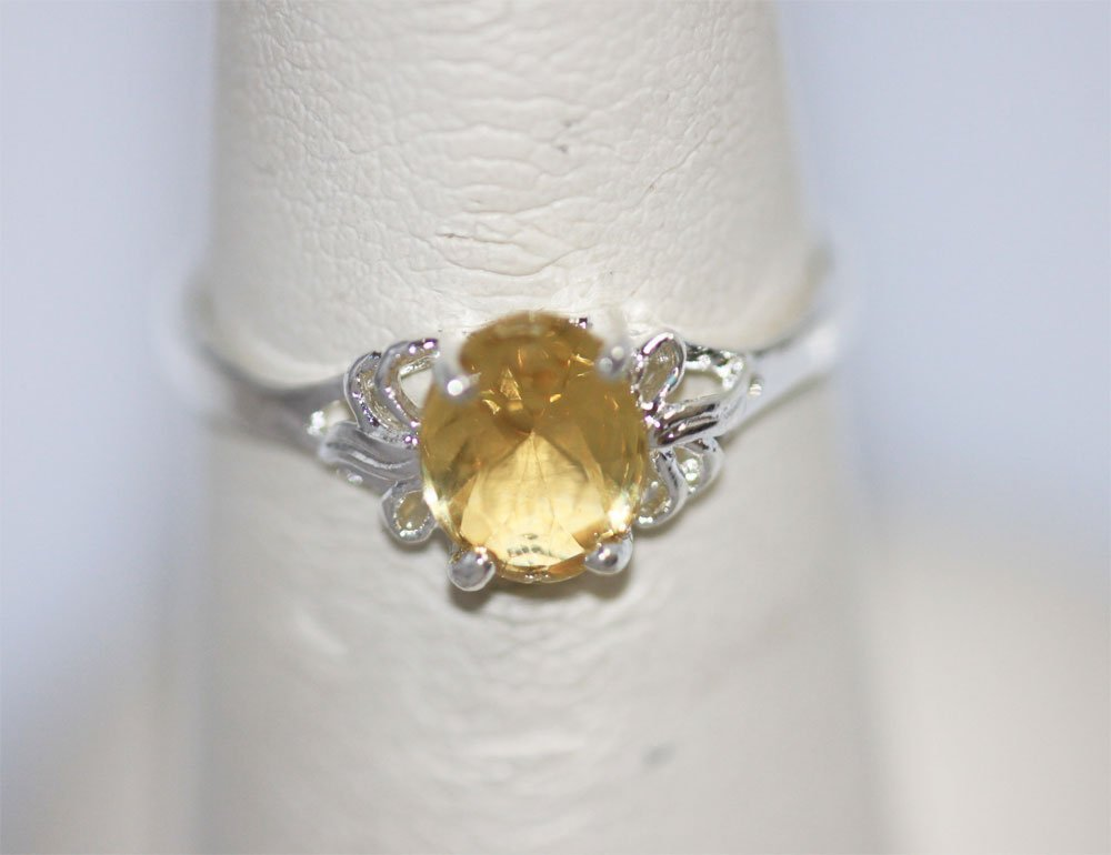 YELLOW CZ RING .925 STERLING SILVER